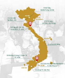 Hệ thống chuỗi cơ sở TMV Đông Á trải dài khắp từ Bắc vào Nam