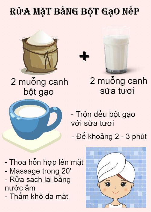 Rửa mặt bằng bột gạo nếp