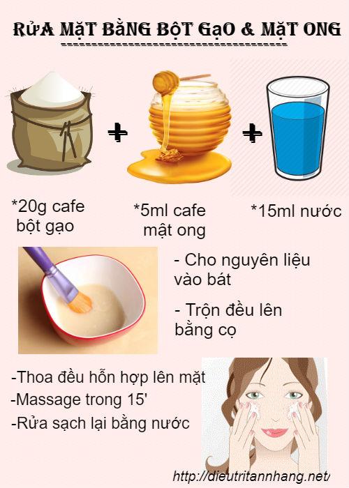Rửa mặt bằng bột gạo kết hợp cùng mật ong